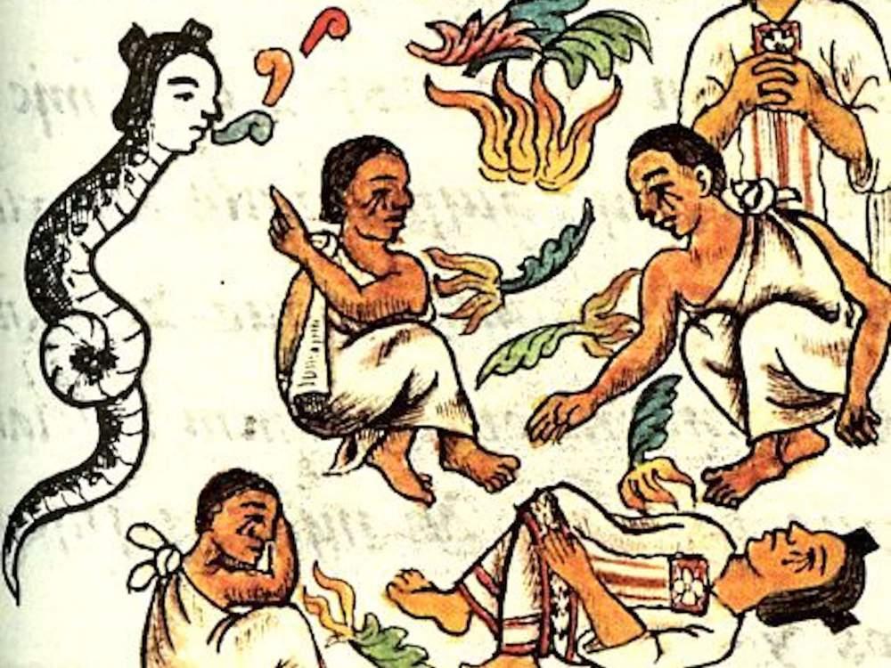 La diosa Ciuatel (Mujer Serpiente) que canta y baila y anuncia el desastre (Códice de Florencia, Biblioteca Laurentiana de Florencia), detalle
