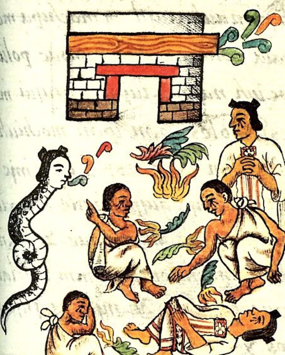 El rayo y la diosa Ciuatel (La mujer serpiente) que canta y baila y anuncia el desastre (manuscrito florentino, Biblioteca Medicia Laurenziana en Florencia)
