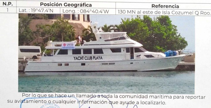 Pide ayuda para localizar el yate perdido en el Caribe donde se encuentra un tripulante argentino.